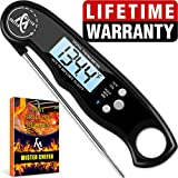 Instant Read Thermometer - Best Waterproof Digital Meat Thermometer with Backlight and Calibration