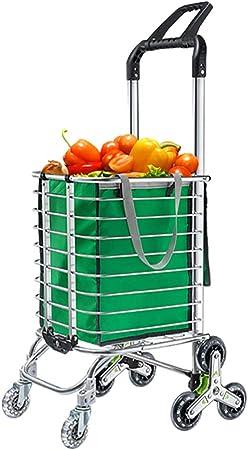 lcc Carrito de Compras, Carro de Escalera de Carga súper Grande Carro de supermercado de 50 kg de Capacidad Carro Plegable con Bolsa Extra Grande Carro utilitario Cordón elástico Ajustable: Amazon.es: Hogar
