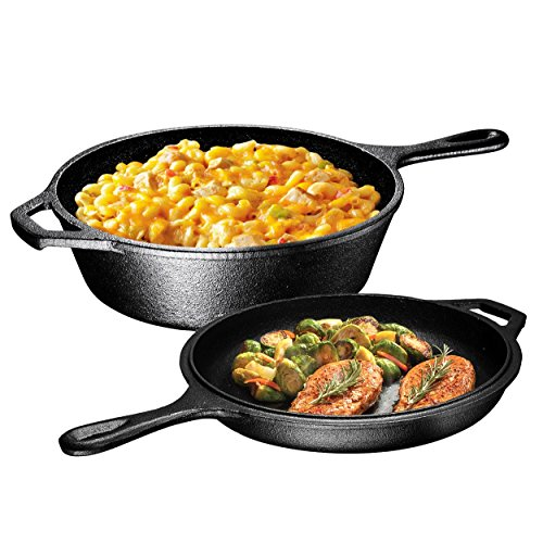 Ultimate Pre-Seasoned 2-In-1 Cast Iron Combo Cooker By Bruntmor – Heavy Duty 3 Quart Skillet and Lid Set, Versatile Healthy Design, Non-Stick Kitchen Cookware, Use As Dutch Oven Frying Pan (Seasoned Combo Iron Cooker Cast)