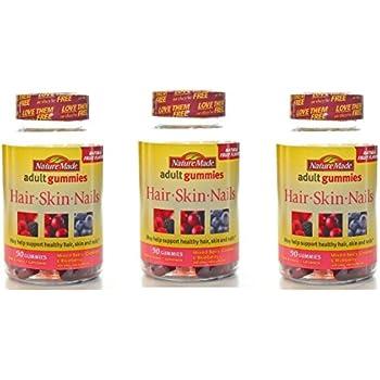 Nature Made Biotin & Vitamin C, Adult Gummies, Natural Fruit Flavors. Pack of 3.