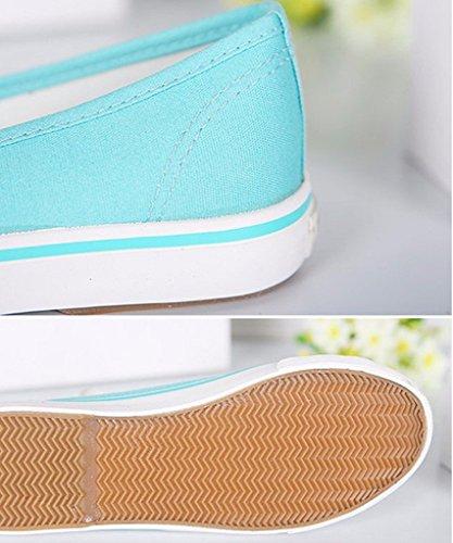 Espadrillas Loafer Tela Rotonda Ragazze Minetom Scarpe Scarpe Tallone Moda Di Verde Donne Punta Piano xRvTBZwqP