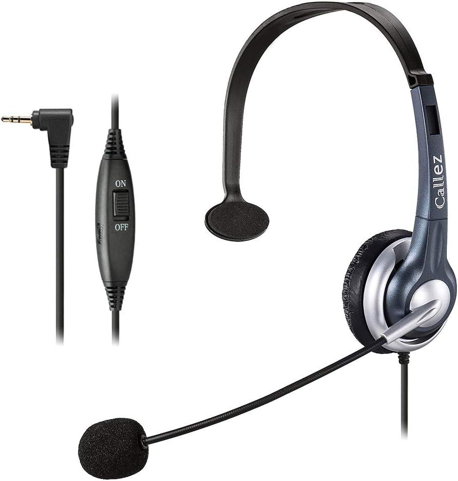 Auriculares Teléfono Fijo Inalámbrico Mono, Micrófono con Cancelación de Ruido, Callez Cascos 2,5 mm con Control de Volumen para Panasonic Siemens Gigaset C430 Polycom Cisco Teléfonos DECT (C300D1)