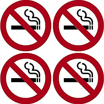 4 pack of no smoking 4 dia sign decal sticker window door wall stop