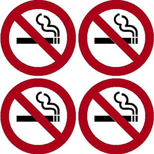 No Smoking Logo - Highway Traffic Supply 4 Pack of NO SMOKING 4'' Dia Sign Decal Sticker Window Door Wall stop smoke logo