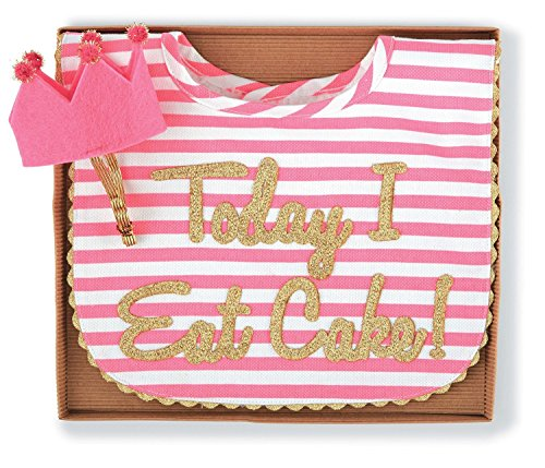 Mud Pie Baby-Girls Newborn Cake Smashing Set-Bib and Crown Headband, Multi, One Size (1st Birthday Bib)