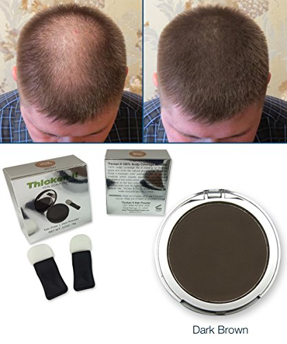 Thicken It 100% Scalp Coverage Hair Powders - DARK BROWN - Talc-Free .32 oz. Water Resistant Hair Loss Concealer. Naturally Thicker Than Hair Fibers & Spray Concealers