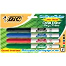 BIC Great Erase Low Odor Dry Erase Markers, Fine Point, Assorted, 4 Dry Erase Markers (GDEP41)