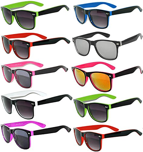 New Stylish Retro Vintage Two -Tone Sunglasses Multicolor Mirror Lens (10_Pack - Smoke_Lens_Mirror_Lens, Mirror) OWL. (Sunglasses Plastic Wayfarer)