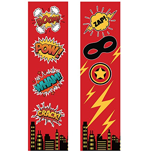 24 Superhero Bookmarks for Kids - Super Heroes Birthday Party Favors Supplies - Reading Incentives - School Student Prizes (Red Superhero Bookmarks Bulk)
