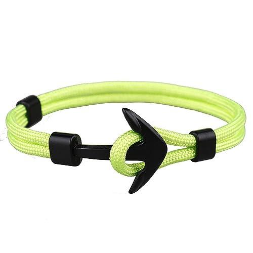 EXINOX Pulsera Nautica | Hombre Mujer | Nautica Edition | Ancla Negro Mate (Verde Fluorescente)