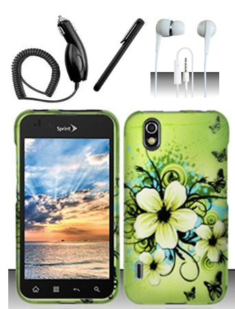 - 4 Items Combo For LG Marquee LS855 / Optimus Black P970 (Boost/Sprint) Green Hawaiian Flowers 2D Design Snap On Hard Case Protector Cover + Car Charger + Free Stylus Pen + Free 3.5mm Stereo Earphone Headsets