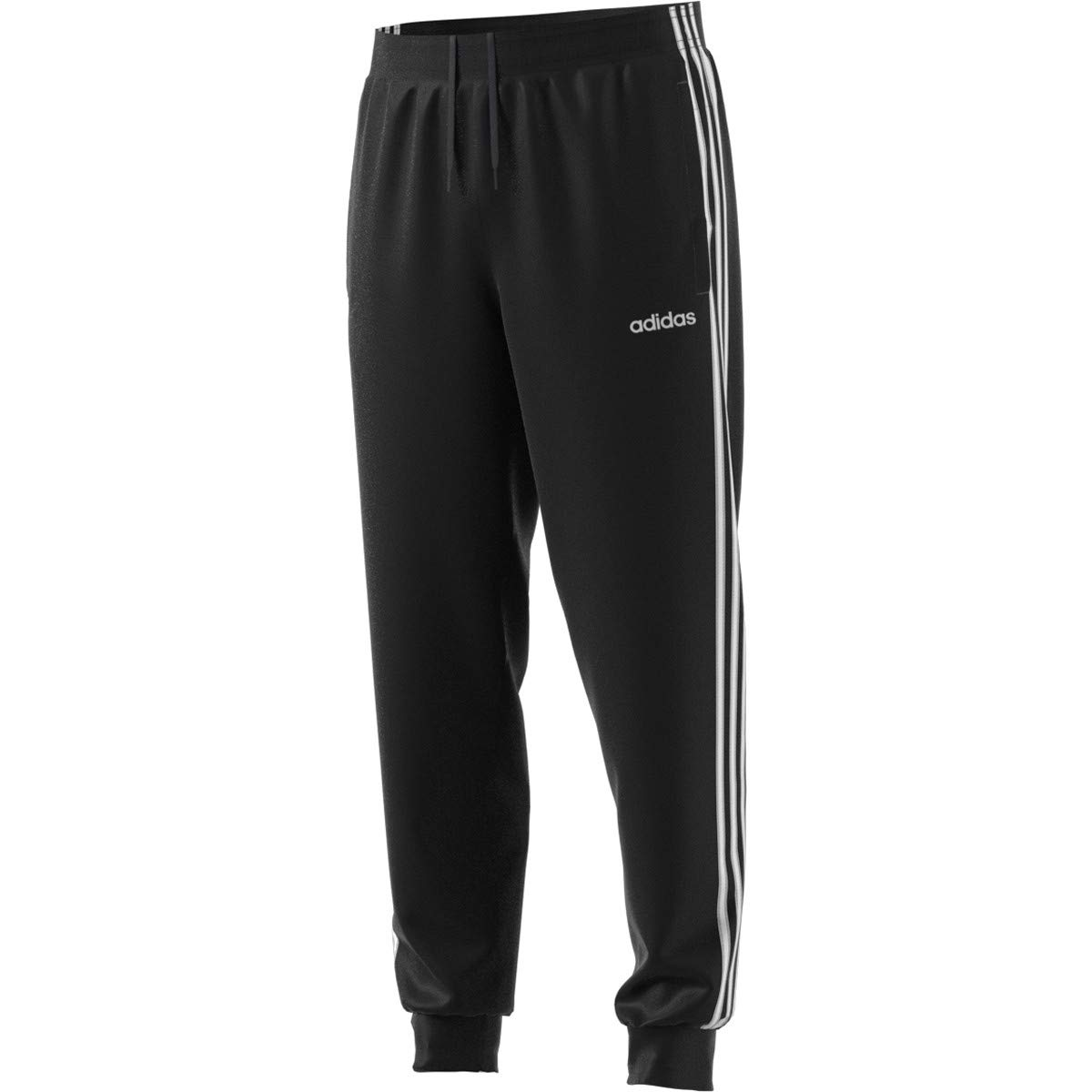 adidas Essentials Men's 3-Stripes Tapered Tricot Pants, Black/White, 4X-Large by adidas