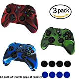xbox one controller covers - SROCKER 3 Pack Silicone Protective Game Controller Case Rubber Skin Cover Game Controller with 4 Thumb Grip Stick Caps for Xbox One (RGB)