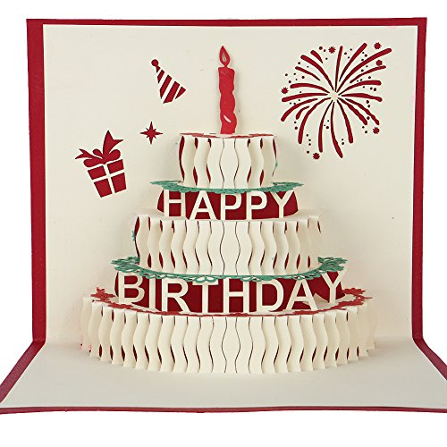 Happy Birthday Cake 3D Pop Up Greeting Card Write In Your Birthday Wishes Best Birthday Gift Idea For Everyone
