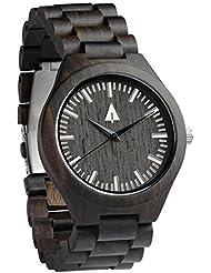 Treehut Mens Black Ebony Wooden Watch with All Wood Strap Quartz Analog with...