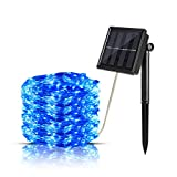 Aurora Solar String Lights, Ourtdoor Waterproof Starry Fairy Lights, 66 Feet 8 Mode 200 LED 8 Modes Copper Wire Ambient Decorative Rope Lights for Garden Christmas Tree Patio Lawn Party Home (Blue)