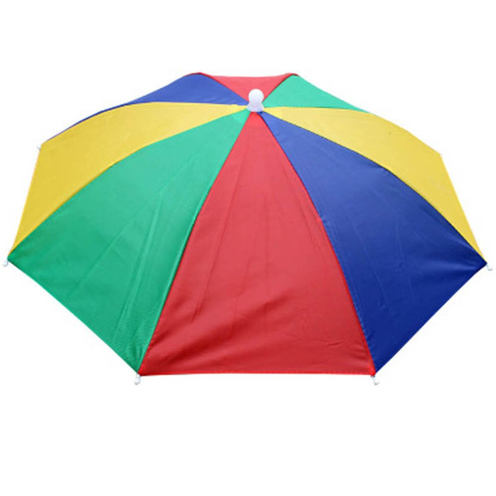Yonger Umbrella Cap Fishing Golf Beach Sun Shade Rainbow Umbrella Hat Headwear