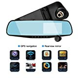 Karl Aiken Dash Cam Car Recorder DVR Front & Rear View Video - 4.3 Inch Monitor Windshield Mount - Full Color HD 1080p Security Backup Camcorder - PiP Night Vision Audio Record Micro SD