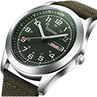 Tonnier Men's Weekender&Calendar Analog Green Canvas Strap Mans Watches