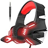 VersionTech Stereo Gaming Headset for PS4 Xbox One, Over Ear Headphones with Noise Isolating Mic, LED Light, Volume Control for Laptop, PC, Tablet, iMac, PSP, Mobile Phone -Red