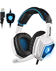 Spirit Wolf PC Gaming Headset USB 7.1 Surround Sound Headset Over-Ear Headphones with Microphone for PC/Mac / Laptop (Black/Blue)