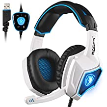 New Updated SADES Spirit Wolf 7.1 Surround Stereo Sound USB Computer Gaming Headset with Microphone,Over-the-Ear Noise Isolating,Breathing LED Light for PC Gamers (Black White)