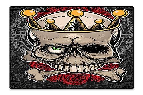 Bath Rugs Skull with Crown Roses Bones Dead King Halloween Illustration Tan Marigold Dark Grey red Non-Toxic Non-Slip Reversible Waterproof 6'6