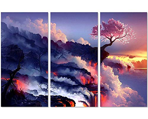 Poster Panel Cherry - QICAI 3 Panels Magic Cherry Tree in Volcanoes Canvas Prints Modern Canvas Wall Art Paintings Stretched and Framed Giclee Artwork Abstract Wall Art for Room Decoration Home Wall Decor,3 pcs/set
