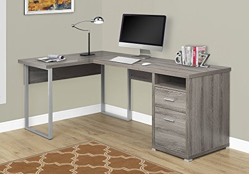 Monarch Specialties I 7255 Computer Desk Left or Right Facing Dark Taupe 80