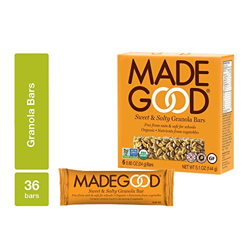 Sweet Salty Granola - MadeGood Sweet and Salty Granola Bars, 6 pack (36 bars); Contain Nutrients of a Full Serving of Vegetables; Gluten Free Oats, Chocolate Chips, Sea Salt, and Gluten Free Oats Form Chewy, Organic Snack