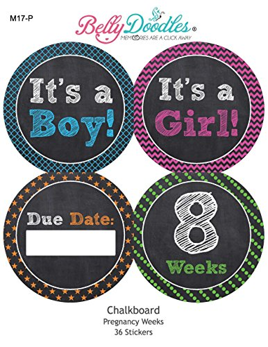 Belly Doodles 36 Weekly Pregnancy Stickers 3.94 Inch