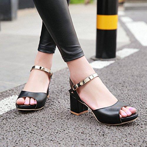 Easemax Dames Trendy Peep Toe Enkelband Medium Blok Hakken Sandalen Zwart