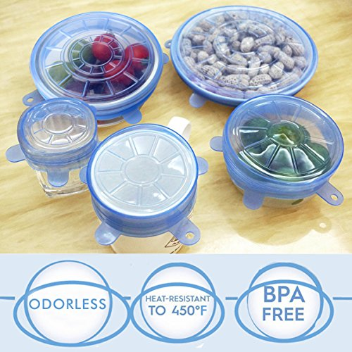 Becozier Premium Silicone Stretch Lids with 6 Various Sizes, Reusable BPA Free Sealed Cover For Mixing Bowl Cup Bakeware Dish Jar and Food Container,Microwave Oven Dishwasher Safe,6 pack