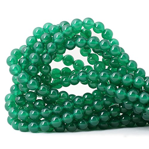 Qiwan 45PCS 8mm Smooth Surface Green Onyx Agate Round Loose Beads Energy Stone for Jewelry Making 1 Strand 15