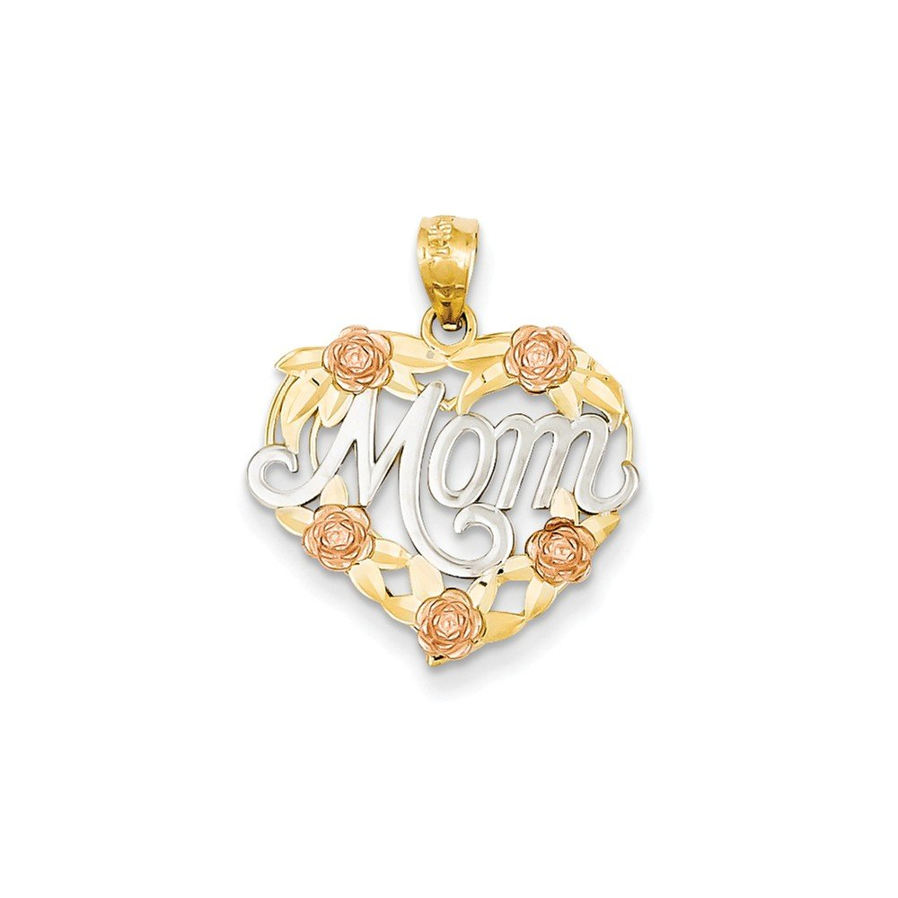 14k Two-tone and Rhodium Mom Heart Pendant