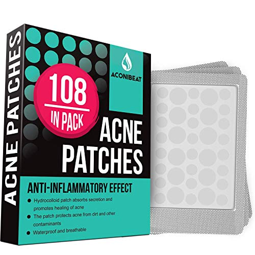 Acne Pimple Healing Patch - Absorbing Cover, Invisible, Blemish Spot, Hydrocolloid, Skin Treatment, Facial Stickers, Two Sizes, Blends in with skin (108 Patches)