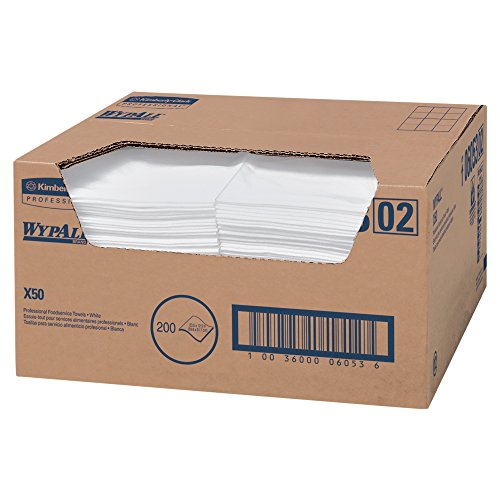 Rag Boxed White (WypAll X50 Extended Use Foodservice Towels Reusable Cloths (06053), Quarterfold, White, 1 Box, 200 Sheets)