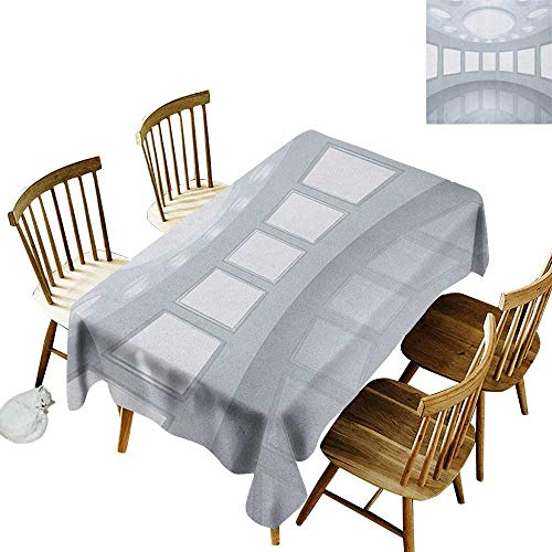 kangkaishi Leakproof Polyester Long Tablecloth Outdoor and Indoor use 3D Visualization of Futuristic Interior Empty Picture Gallery Architecture Print W14 x L72 Inch White ()