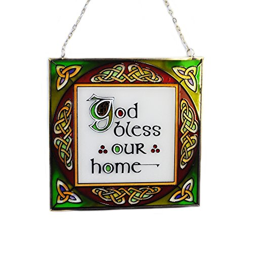 Irish bless our home Suncatcher - Bless our Home stained glass plaque window hanging. Irish gift shipped from Ireland.