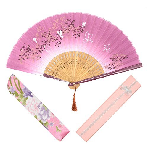 "OMyTea® ""Morning Glory"" Women Hand Held Silk Folding Fans with Bamboo Frame - With a Fabric Sleeve for Protection for Gifts - Chinese / Japanese Vintage Retro Style (Red with Gift Box)"