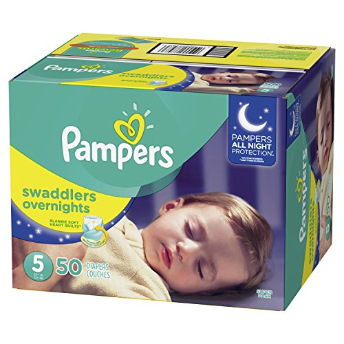 Pampers Swaddlers Overnights Disposable Diapers Size 5, 50 Count, SUPER by Pampers