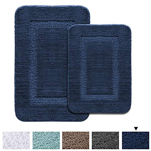 (H.VERSAILTEX 2 Size Super Soft Tufted Bath Mat Floor Rugs Machine Washable Bath Rugs Set for Bathroom/Kitchen Dry Fast Water Absorbent Bedroom Area Rugs (Pack 2-20