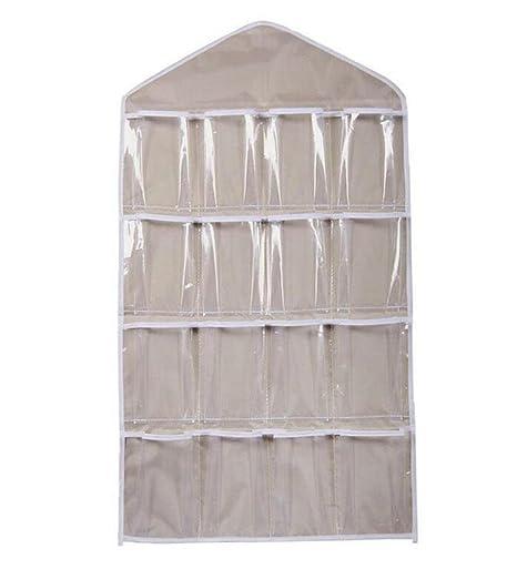 Organizador de pared de iTemer, para colgar, con 16 bolsillos de almacenamientos; para ropa interior, calcetines, corbatas, joyas, sujetadores, llaves ...