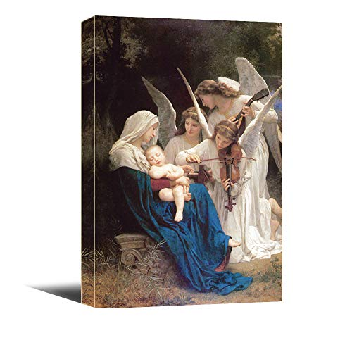 Religious Canvas - JunTung Canvas Art Wall Decor -Virgin Mary Angels Play Violin Religious Canvas Print with Stretched and Framed Ready to Hang for Home Office Decor 12