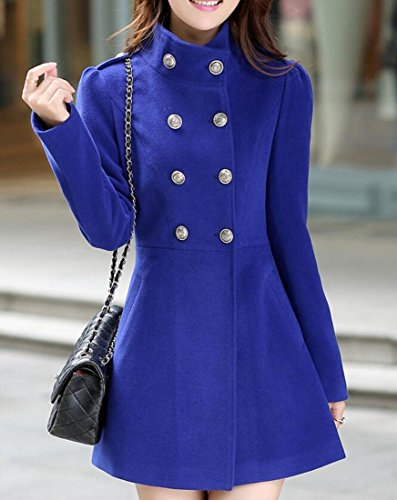 NQ Women's Winter Double Breasted Swing Woolen Long Coats Blue XL