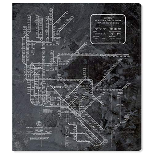 The Oliver Gal Artist Co. Oliver Gal 'NY Subway Map Dark Rustic' Black Cities Wall Art Print Premium Canvas 36