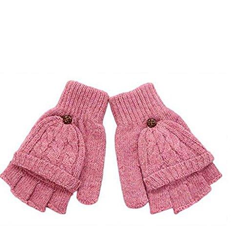 今シャンプー重要な手袋 レディース 灰色 防寒 冬 秋 ニット ピンク