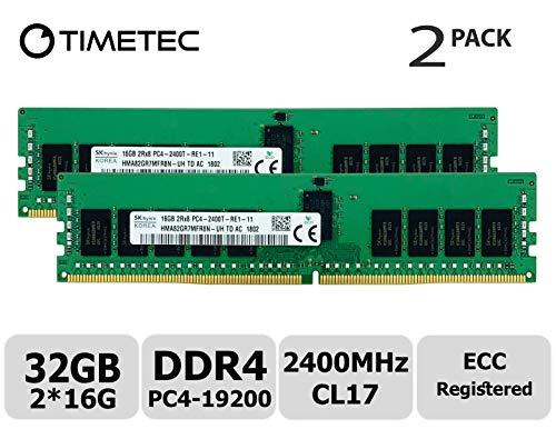 - Timetec Hynix Original 32GB KIT(2x16GB) DDR4 2400MHz PC4-19200 Registered ECC 1.2V CL17 2Rx8 Dual Rank 288 Pin RDIMM Server Memory RAM Module Upgrade (32GB KIT(2x16GB))