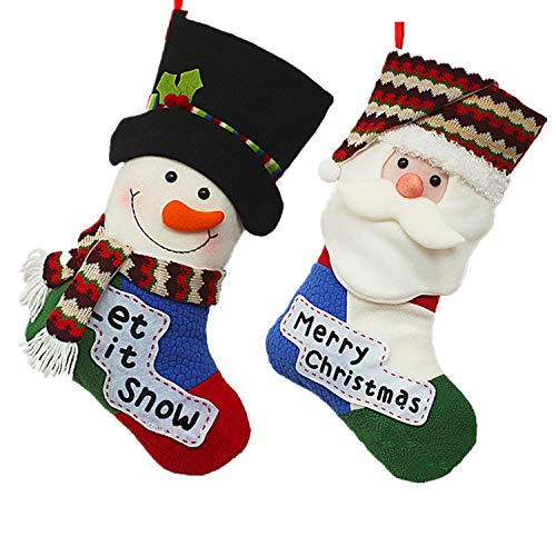 urwonderbox 20inch Funny Christmas Stockings, 3D Santa Claus Snowman Socks Bag for Christmas Tree Christmas Fireplace Hanging Decorations