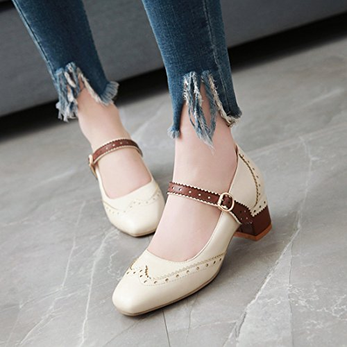 Talon a Journee Pointu Femmes Jane Confortalbe Chaussures Mary Chic Beige UH Plate Bout Simple Pour XqwSBxqCOI